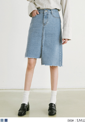[SKIRT] UNBAL CUTTING MIDI SKIRT